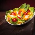Auf Wunsch gibt es die schmackhaften Salate auch natürlich vegetarisch