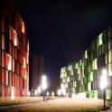 Architekturfotos am Kölner Rheinufer bei Nacht