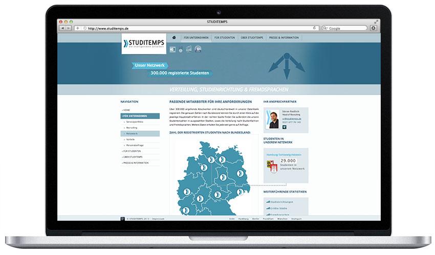 Studitemps Firmenwebseite
